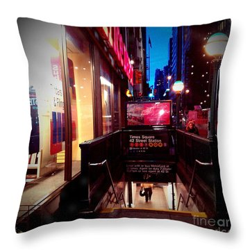Throw Pillow featuring the photograph Times Square Station by James Aiken