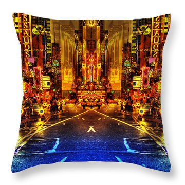 Throw Pillow featuring the photograph Times Square Sunset by Dave Beckerman