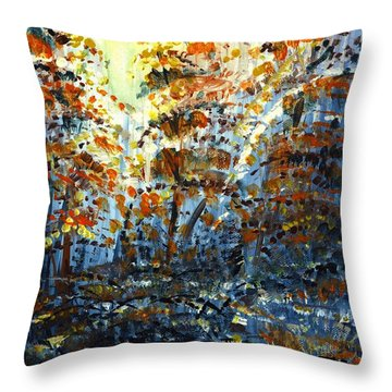 Throw Pillow featuring the painting Tim's Autumn Trees by Holly Carmichael
