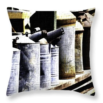 Tin Can Alley - Vintage Look Throw Pillow by Nadalyn Larsen
