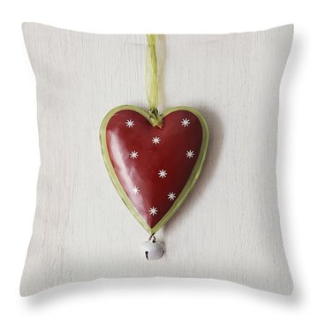 Throw Pillow featuring the photograph Tin Heart Hanging On Wood by Sandra Cunningham