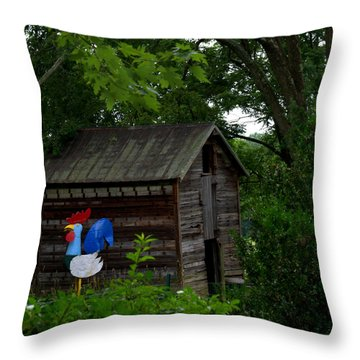 Tin Rooster Throw Pillow