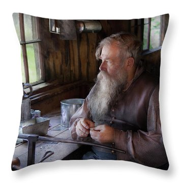 Tin Smith - Making Toys For Children Throw Pillow by Mike Savad
