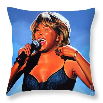 Tina Turner Queen Of Rock Throw Pillow by Paul Meijering
