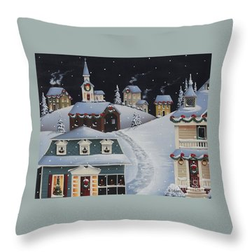 Tinsel Town Christmas Throw Pillow by Catherine Holman