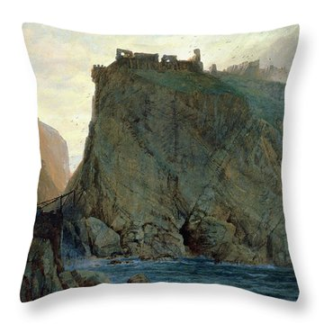 Tintagel On The Cornish Coast Throw Pillow by W T Richards