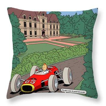 Tintin Grand Prix De Moulinsart 1965  Throw Pillow