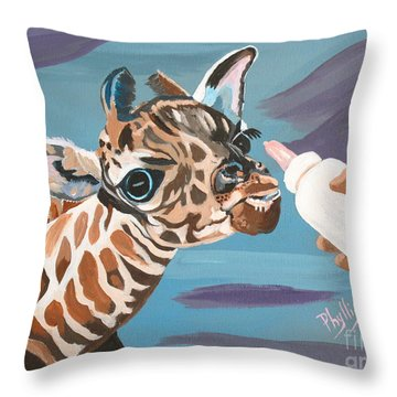 Tiny Baby Giraffe With Bottle Throw Pillow