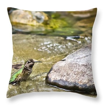 Tiny Bather Throw Pillow