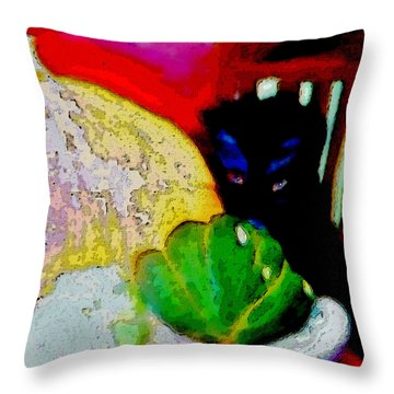 Tiny Black Kitten Throw Pillow by Lisa Kaiser