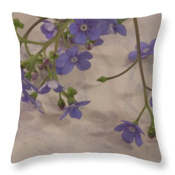Throw Pillow featuring the photograph Tiny Blue by Sandra Foster