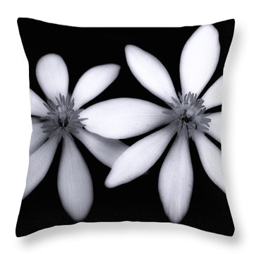 Tiny Dancers-black And White Throw Pillow by Tom Druin