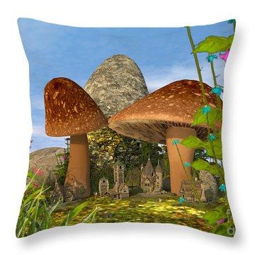 Tiny Fairy Village Throw Pillow
