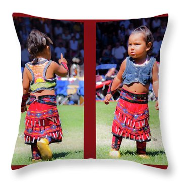 Tiny Jingle Dancer Throw Pillow by Theresa Tahara
