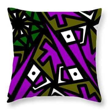 Throw Pillow featuring the digital art Tiny Man / Kinda Fish by Elizabeth McTaggart