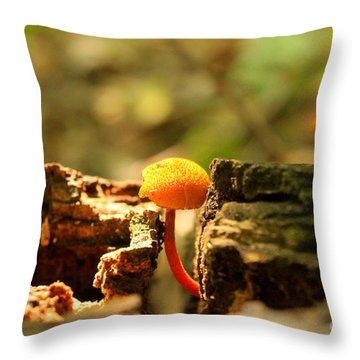 Tiny Mushroom Throw Pillow by Melissa Petrey