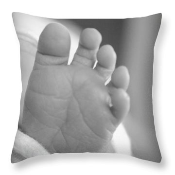 Tiny Toes Throw Pillow