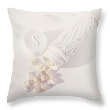 Tiny White Seashells Throw Pillow