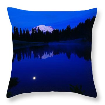 Tipoe Lake And Mount Rainer Throw Pillow by Jeff Swan
