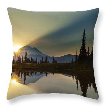 Tipsoo Rainier Sunstar Throw Pillow by Mike Reid