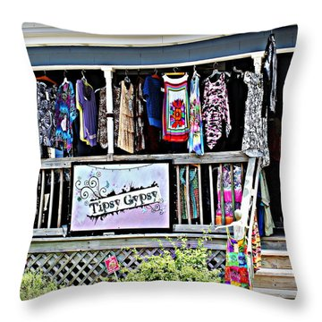 Tipsy Gypsy Throw Pillow by Beth Vincent