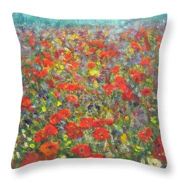 Tiptoe Through A Poppy Field Throw Pillow by Richard James Digance