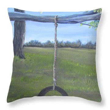 Tire Swing Throw Pillow