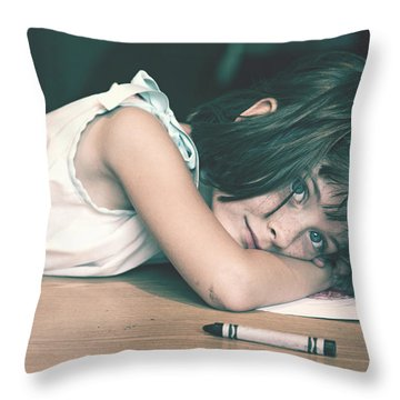 Tired Girl By Jan Marvin Throw Pillow