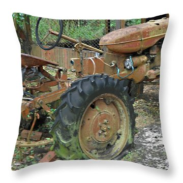 Tired Tractor...color Throw Pillow