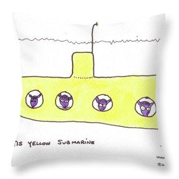 Tis Yellow Submarine Throw Pillow by Tis Art