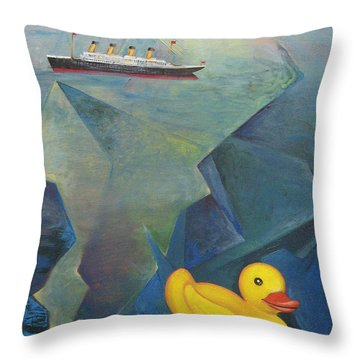 Titanic And The Ducky Throw Pillow