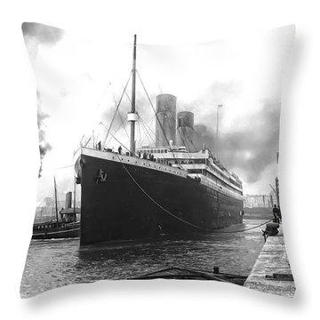 Titanic In Southampton Harbor Throw Pillow