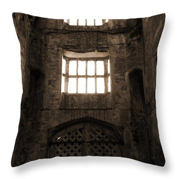 Titchfield Abbey Gatehouse In Sepia Throw Pillow by Terri Waters