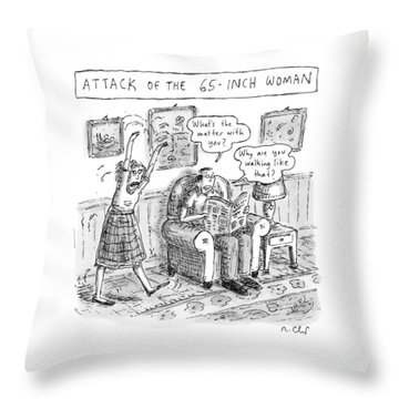 Title: Attack Of The 65-inch Woman. A Woman Walks Throw Pillow
