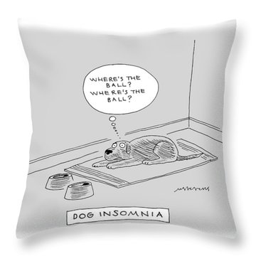 Title: Dog Insomnia. A Dog At Night Thinking Throw Pillow