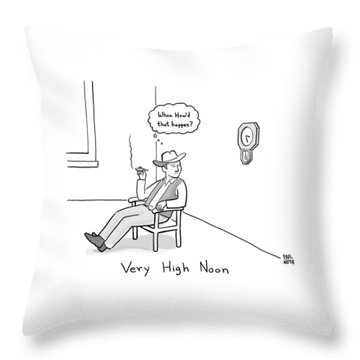 Title: Very High Noon. A Cowboy Looking Throw Pillow