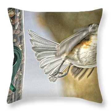 Throw Pillow featuring the photograph Titmouse In Flight With A Nut by Constantine Gregory