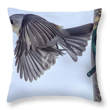 Titmouse Takeoff Throw Pillow by Constantine Gregory