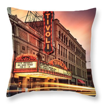Tivoli Theatre Valentines Day Sunset Throw Pillow by Steven Llorca