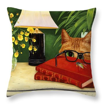 Throw Pillow featuring the painting To Bee Or Not To Bee by Karen Zuk Rosenblatt