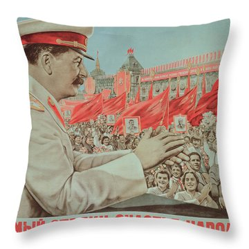 To Our Dear Stalin Throw Pillow by Russian School