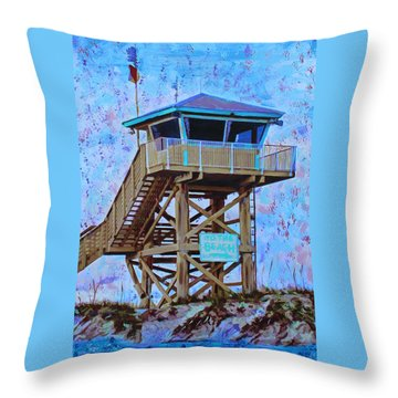 Throw Pillow featuring the painting To The Beach by Deborah Boyd
