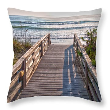 To The Beach Throw Pillow by Paulette B Wright