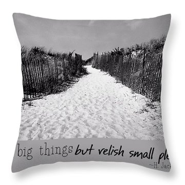 To The Beach Quote Throw Pillow by JAMART Photography