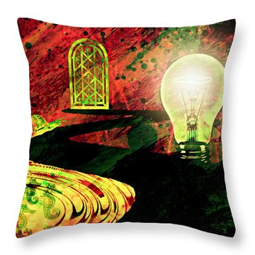 Throw Pillow featuring the mixed media To The Light by Ally  White