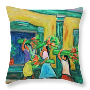 To The Morning Market Throw Pillow by Xueling Zou