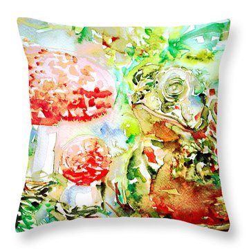 Toad And Mushroom.2 Throw Pillow by Fabrizio Cassetta