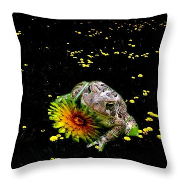 Toad In A Lions Den Throw Pillow by Mike Breau