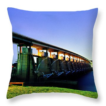 Toad Suck Dam At Night Throw Pillow