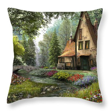 Toadstool Cottage Throw Pillow by Dominic Davison